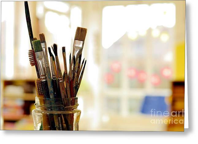 Painting Art Brushes In The Jar Greeting Card