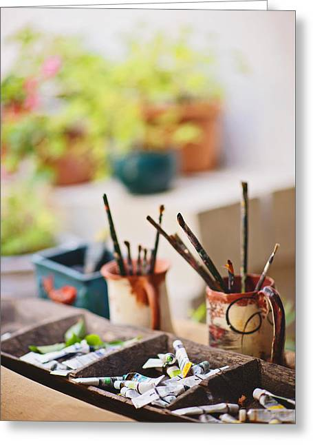 Painting Brushes Greeting Card