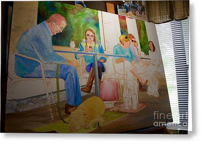Painting Dogs On Park Avenue Greeting Card