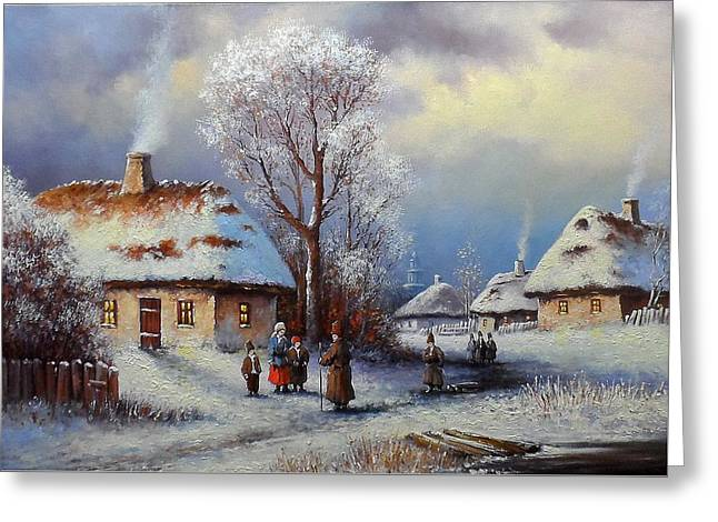 Painting, Landscape Of Old Winter Village Greeting Card