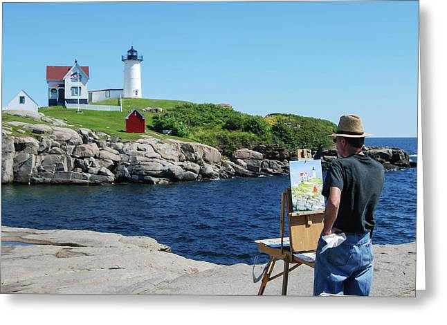 Painting Nubble Lighthouse Greeting Card