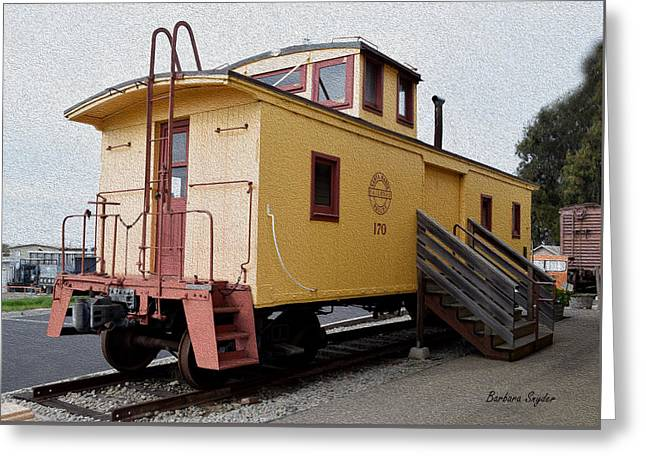 Painting Oceano Depot Museum Caboose  Greeting Card by Barbara Snyder