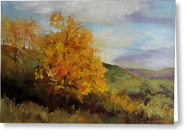 Painting Of A Golden Tree Greeting Card by Cheri Wollenberg