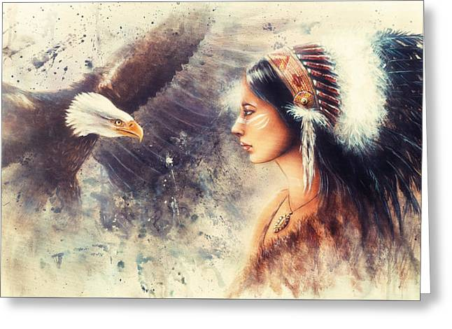 Painting Of A Young Indian Woman Wearing A Gorgeous Feather Headdress. With An Image  Eagle Spirits  Greeting Card by Jozef Klopacka