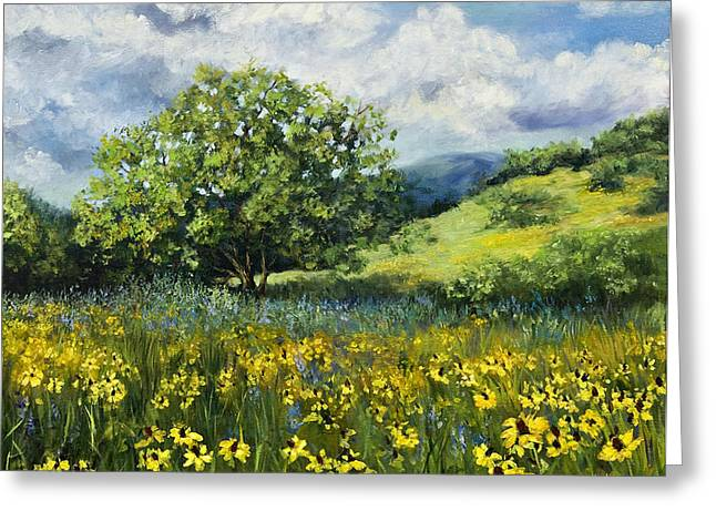 Painting Of Black-eyed Susans In Oklahoma Landscape Greeting Card by Cheri Wollenberg