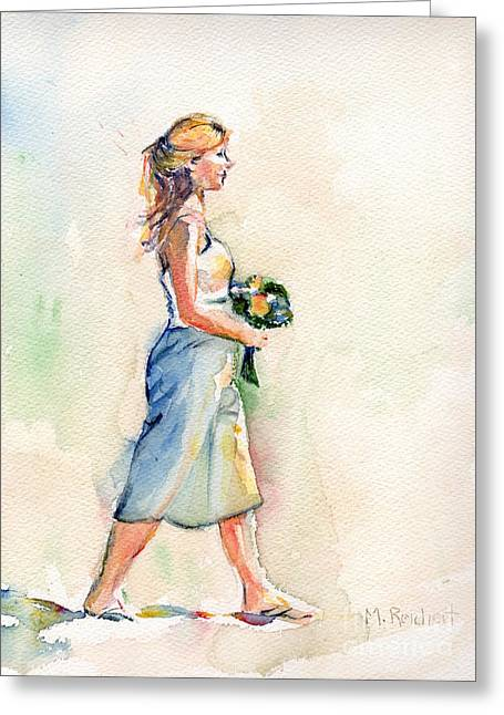 Painting Of Bridesmaid In Watercolor Greeting Card