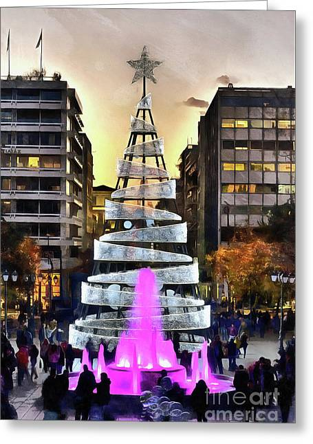Painting Of Christmas Tree In Syntagma Square Greeting Card