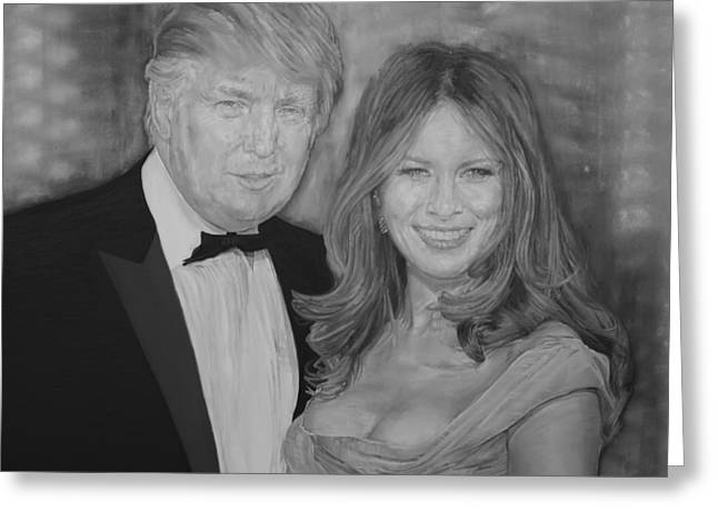 Painting Of Donald And Melania Trump Greeting Card by Alex Krasky