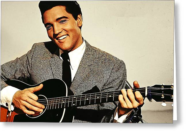 Painting Of Early Young Elvis With Guitar Greeting Card by Elaine Plesser