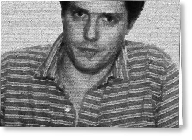 Painting Of Hugh Grant Mug Shot 1995 Black And White Greeting Card