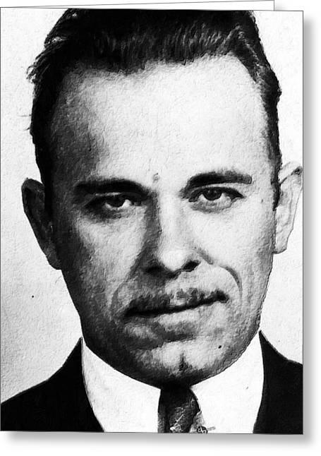 Painting Of John Dillinger Mug Shot Greeting Card by Tony Rubino