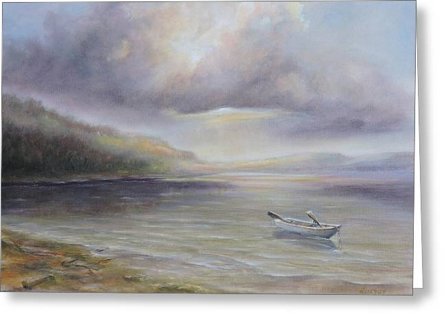 Beach By Sruce Run Lake In New Jersey At Sunrise With A Boat Greeting Card