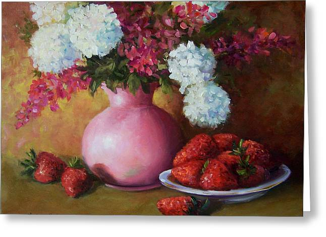 Painting Of Pink Pitcher And Strawberries Greeting Card by Cheri Wollenberg