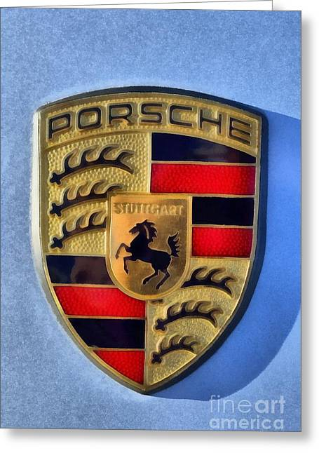 Painting Of Porsche Badge Greeting Card