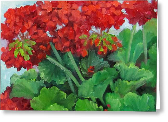 Painting Of Red Geraniums Greeting Card