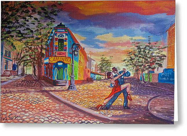 Painting Of Tango Dancing In La Boca Shown On A Street In La Boca Barrio Of Buenos Aires-argentina Greeting Card