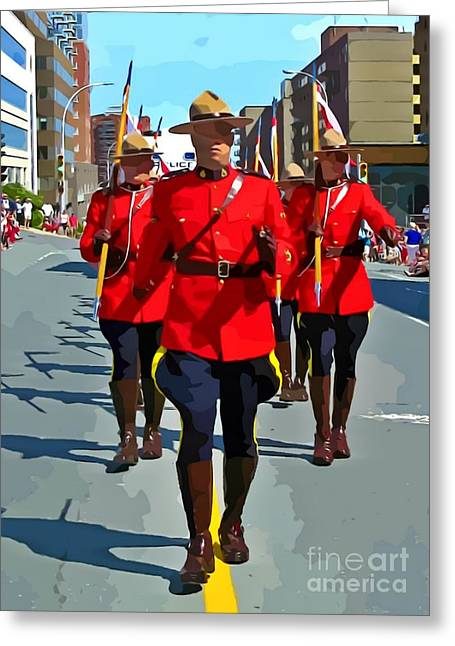 Painting Of The Royal Canadian Mounted Police Greeting Card