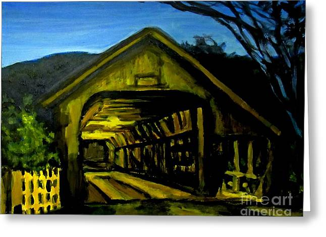 Painting Of Woodstock Bridge Vermont At Night Greeting Card by John Malone