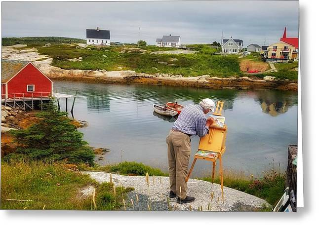 Painting Peggys Cove Greeting Card