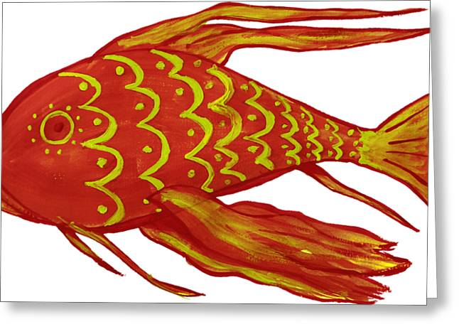 Painting Red Fish Greeting Card