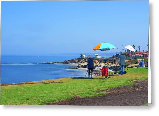 Painting The Coastline Greeting Card