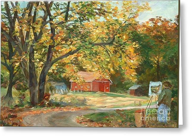 Painting The Fall Colors Greeting Card