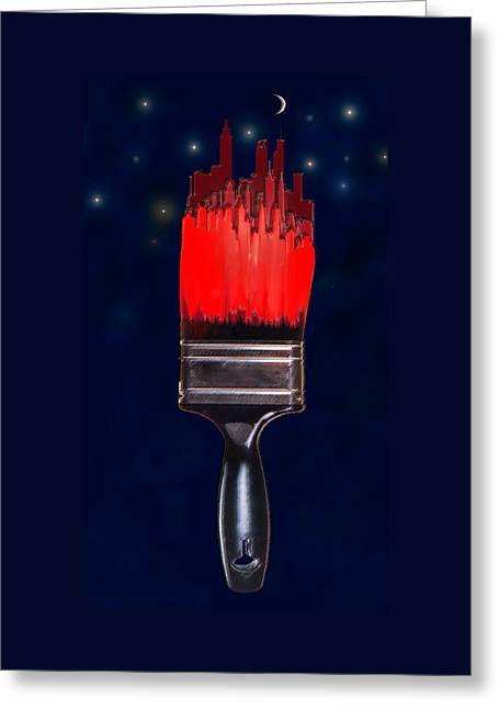 Painting The Town Red Greeting Card by Jane Schnetlage
