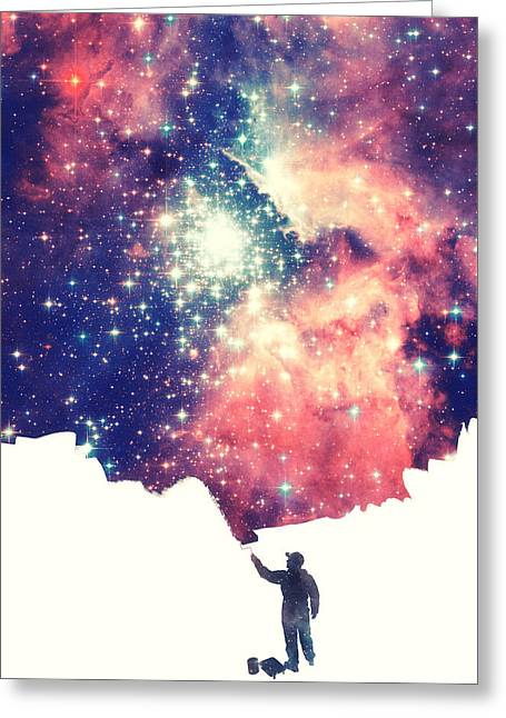 Painting The Universe Awsome Space Art Design Greeting Card by Philipp Rietz