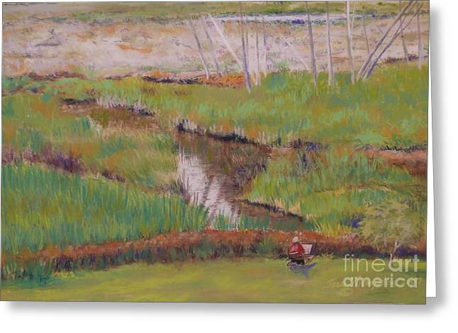 Greeting Card featuring the painting Painting The Wetlands by Terri Thompson