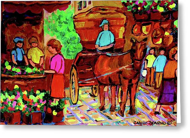 Paintings Of Montreal Streets Old Montreal With Flower Cart And Caleche By Artist Carole Spandau Greeting Card by Carole Spandau