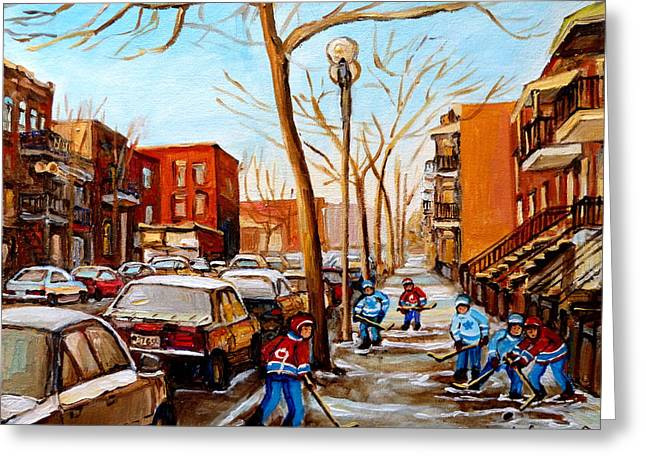 Montreal Hockey Scenes Greeting Cards - Paintings Of Verdun Streets In Winter Hockey Game Near Row Houses Montreal City Scenes Greeting Card by Carole Spandau