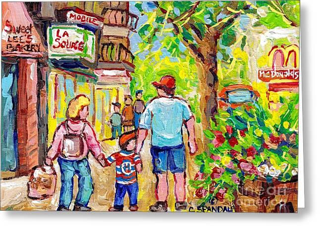 Paintings Of Verdun Sweet Lee Bakery Summer Stroll Wellington Streetscene Hockey Shirt Canadian Art  Greeting Card