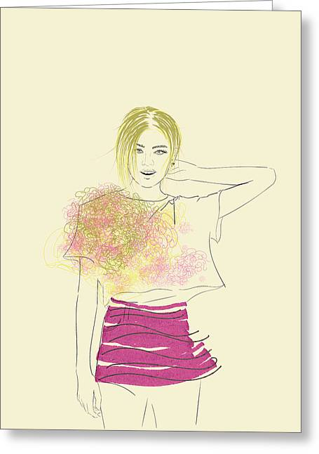 Paintings, Women's Fashion.hand Drawn Background With A Pretty Fashion Girl In Sketch Style. Greeting Card