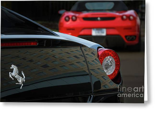 Greeting Card featuring the photograph Pair Of Ferraris by Dennis Hedberg