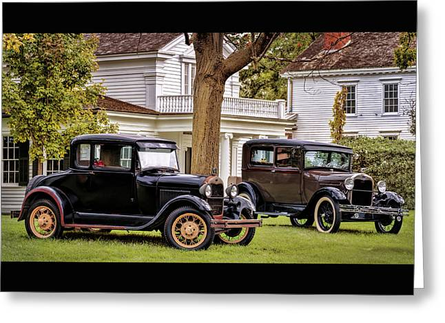 Greeting Card featuring the photograph Pair Of Ford Model A  by Susan Rissi Tregoning