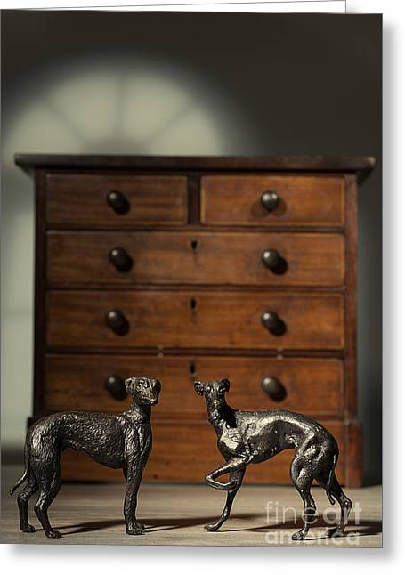 Pair Of Greyhound Dog Figures Greeting Card by Amanda Elwell