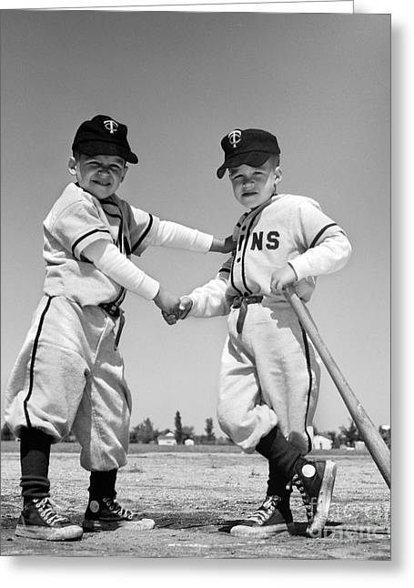 Pair Of Little Leaguers In Uniform Greeting Card by H. Armstrong Roberts/ClassicStock