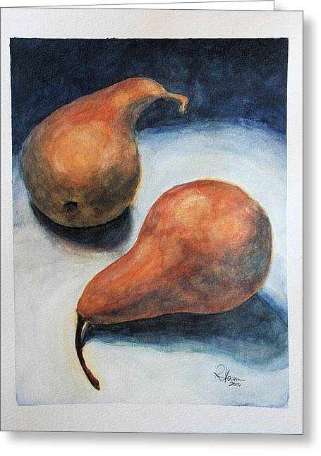 Greeting Card featuring the painting Pair Of Pears by Rachel Hames
