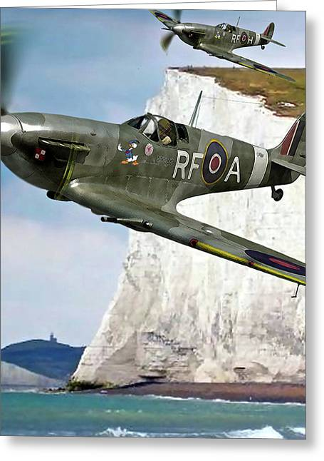 Pair Of British Supermarine Spitfires Donald Duck Nose Art Greeting Card