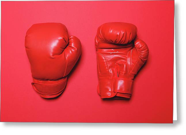 Pair Of Red Boxing Gloves On Red Background - Flat Lay Minimal D Greeting Card