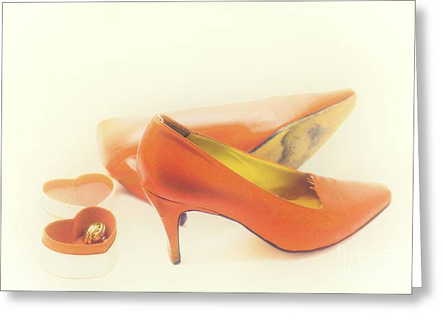 Pair Of Red High Heeled Shoes Greeting Card by Patricia Hofmeester