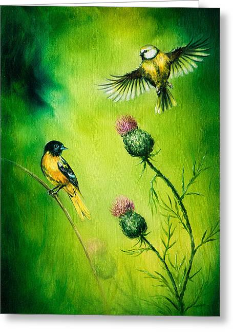 Pair Of Songbirds Flattering Above A Distel Flower, On An Emerald Green Background Greeting Card by Jozef Klopacka