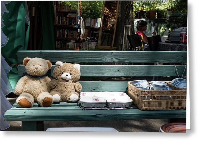 Teddy Bear Lovers On The Banch Greeting Card