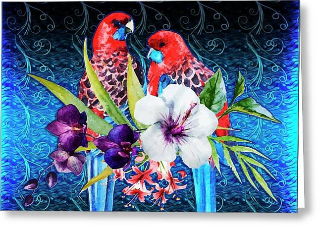 Paired Parrots Greeting Card