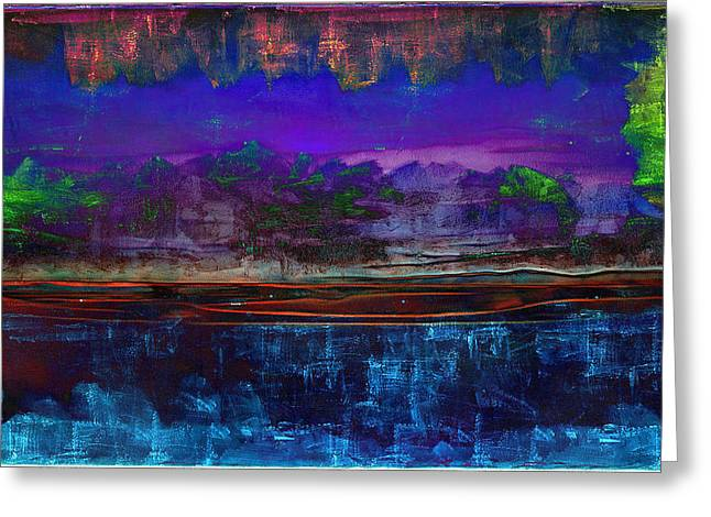 Paisaje Abstracto Nocturno Greeting Card
