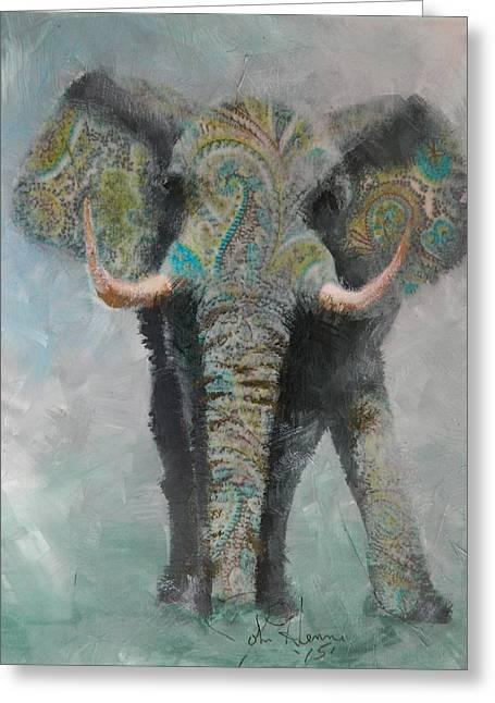 Paisley Elephant Greeting Card by John Henne
