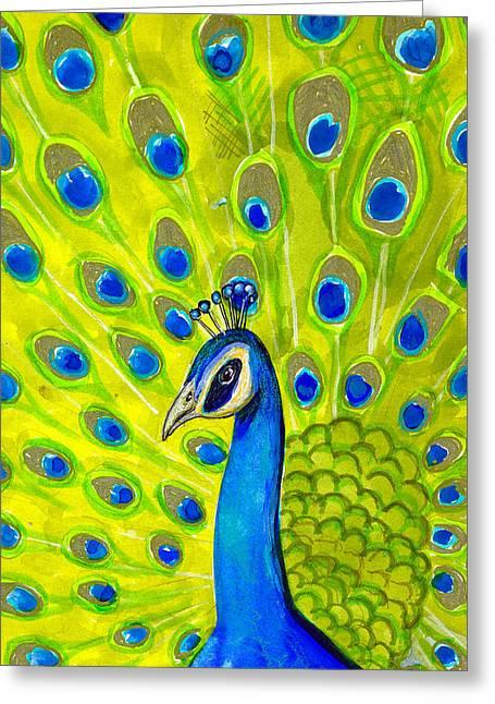 Paisley Peacock Greeting Card by Blenda Studio