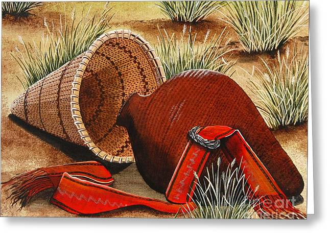 Greeting Card featuring the painting Paiute Baskets by Jennifer Lake