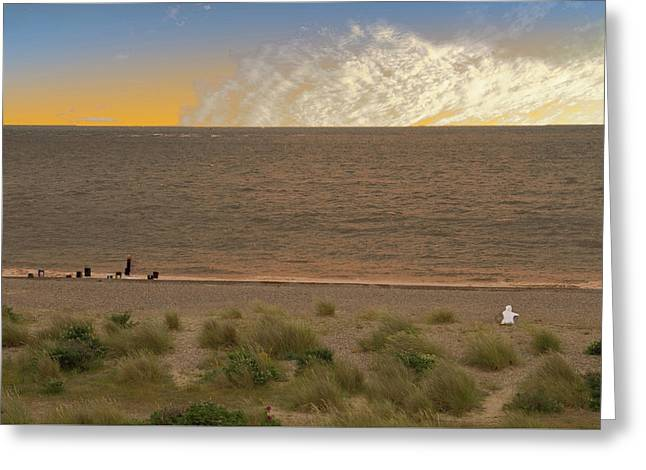 Pakefield Beach Sunset Greeting Card by David French