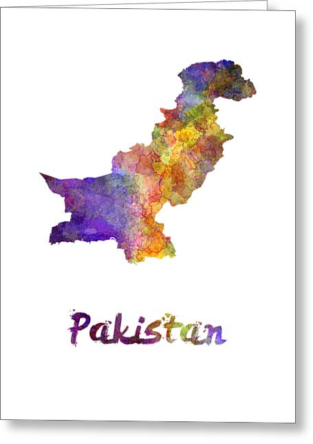 Pakistan In Watercolor Greeting Card by Pablo Romero